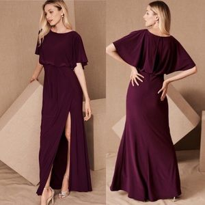 BHLDN Anthro Lena Blouson Slit Long Gown Dress
